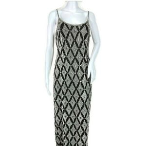 papell boutique full length evening dress beaded
